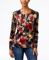 Karen Scott Petite Floral-Print Cardigan, Only at Macy's