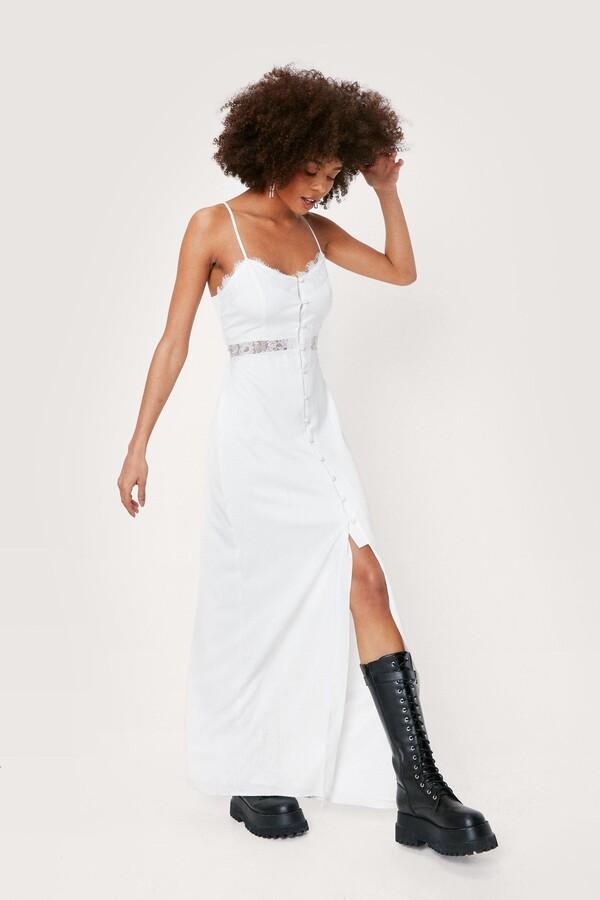 Thumbnail for your product : Nasty Gal Womens Eyelash Lace Detail Midi Slip Dress