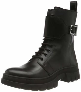 HUGO BOSS Womens Royal W Biker-C Biker-Inspired Boots in Smooth Italian Leather Size 5 Black