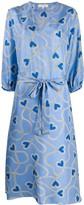 Parker Chinti & silk heart-print dress