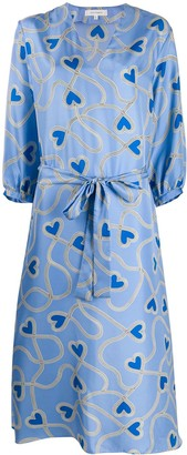 Chinti and Parker Silk Heart-Print Dress
