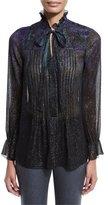 Elie Tahari Everette Long-Sleeve Pintucked Metallic Silk Blouse, Jasmine