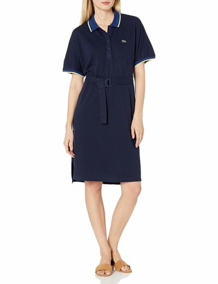 Lacoste Women's Short Sleeve Belted Semi Fancy Pique Polo Dress