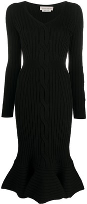 Alexander McQueen Cut-Out Detail Ribbed Knit Dress