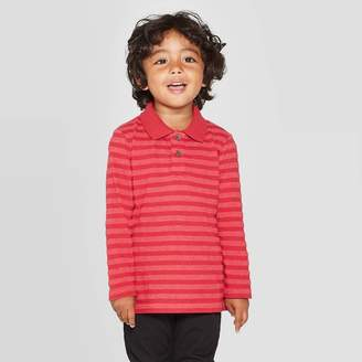 Cat & Jack Toddler Boys' Long Sleeve Striped Jersey Polo T-Shirt - Cat & JackTM