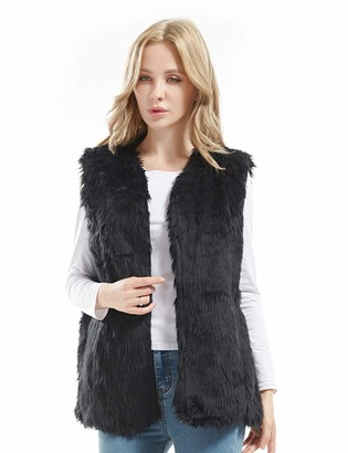 Bellivera Lady Faux Fur Vest Warm Sleeveless Outwear (Black XX-Large)