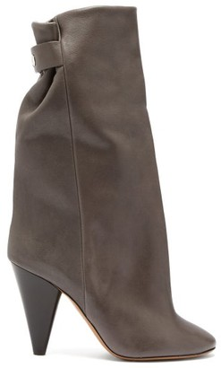 Isabel Marant Lakfee Slouched Leather Boots - Womens - Grey