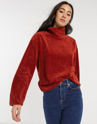 NATIVE YOUTH funnel neck soft touch sweater in rust