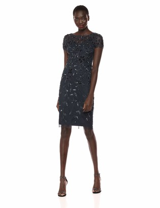 Adrianna Papell Women's Floral Beaded Dress with Short Sleeves