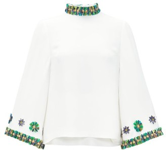Andrew Gn Sequin-embellished Flared-sleeve Top - Womens - White