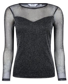Dorothy Perkins Womens Dp Petite Charcoal Mesh Top