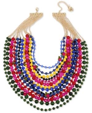 "Betsey Johnson Gold-Tone Bead, Fireball & Fabric Rose Multi-Row Statement Necklace, 17"" + 3"" extender"