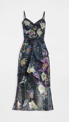 Marchesa High Low Midi Dress with Cascading Ruffle