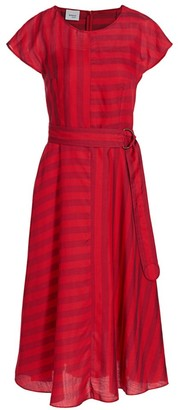 Akris Punto Mixed Stripe Belted Midi Dress