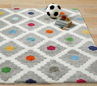Pottery Barn Kids Machine Washable Multi Dot Rug