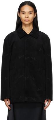 we11done Black Velvet Logo Jacket