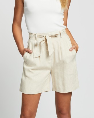 Atmos & Here Atmos&Here - Women's Neutrals High-Waisted - Kym Linen Blend Tie Waist Shorts - Size 6 at The Iconic