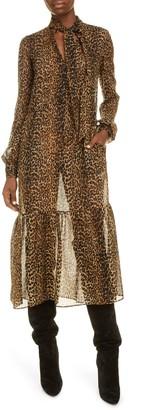 Saint Laurent Long Sleeve Leopard Print Silk Midi Dress