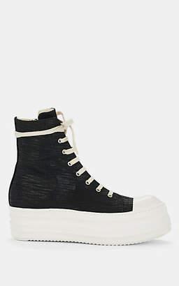 Rick Owens Men's Double-Sole Denim Sneakers - Black