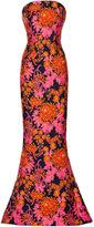 Zac Posen Cotton Jacquard Strapless Floral Gown