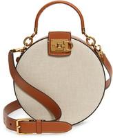 Salvatore Ferragamo The Studio Round Canvas & Leather Shoulder Bag