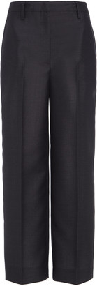 Prada Women's Cropped Wool Tapered Pants - Grey - Moda Operandi