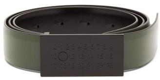 Maison Margiela Logo Buckle Patent-leather Belt - Mens - Black Green