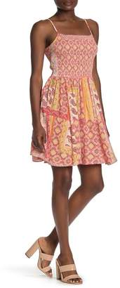 Angie Smocked Bodice Paisley Print Swing Dress