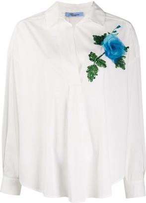 Blumarine Sequin Floral Applique Blouse