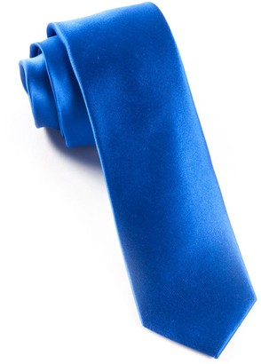 Tie Bar Solid Satin Royal Blue Tie