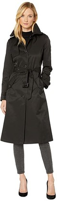 Lauren Ralph Lauren Long Raincoat w/ Hood and Piping (Black) Women's Clothing