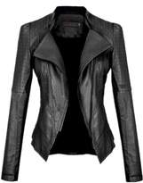 Allonly Women Moto Biker Faux Leather Jacket Leisure PU Coat