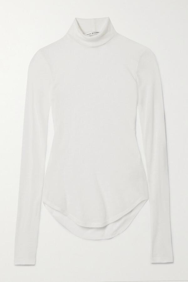 Thumbnail for your product : FRANCES DE LOURDES Lucie Slub Cashmere And Silk-blend Turtleneck Top - White