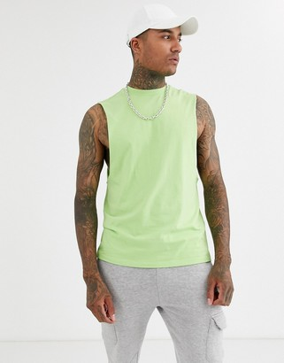 Asos Design DESIGN organic relaxed sleeveless t-shirt with dropped armhole in green