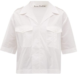 Acne Studios Stina Notched-collar Cotton Shirt - Womens - White