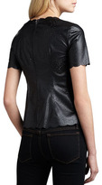 BCBGMAXAZRIA Scallop-Trim Perforated Leather Top