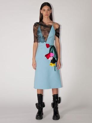 Prada Natte Lace & Gabardine Midi Dress