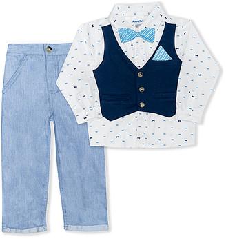 Nannette Kids Boys' Casual Pants WHITE - White & Blue Bow-Tie Button-Up Set - Toddler