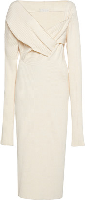 Bottega Veneta Asymmetric Draped Knitted Midi Dress