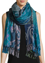 Sabira Hoggar Paisley & Check Wool Shawl, Light Blue