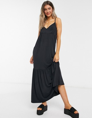 Miss Selfridge maxi slip dress in black