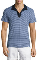 Orlebar Brown Felix Micro-Stripe Woven Polo Shirt, Navy