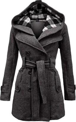 GERKYE Women's Woolen Long Coat Hooded Double-Breasted Jacket with Belt Hooded Jacket Gray