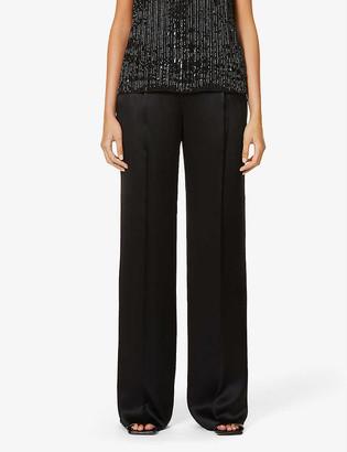 Max Mara Elegante Eremi pleated wide-leg high-rise silk-satin trousers