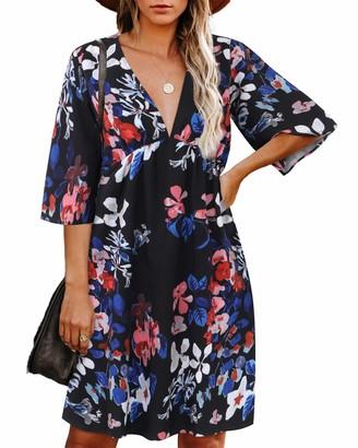 Zanzea High Quality Street Fashion Zanzea Women Short Sleeve V Neck Mini Beach Dress Casual Loose Floral Print Aline Summer Dress M-Black 18