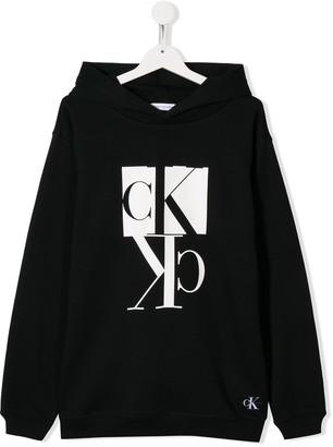 Calvin Klein Kids TEEN logo print hoodie