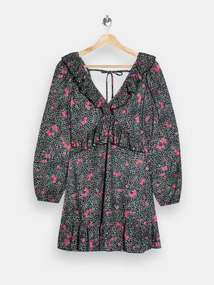 Topshop Double V Jersey Tea Dress - Black