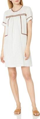 Michael Stars Women's Dobby Stripe Peasant Dress with Beading Detail