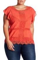 Democracy Crochet Flutter Sleeve Blouse (Plus Size)