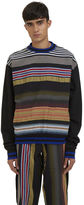 James Long Men's Multicolour Striped Crew Neck Sweater In Black